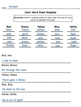 Color word poem template