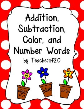 Color words, number words, addition, subtraction games
