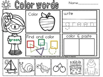 Color words trace,find and cut and paste.