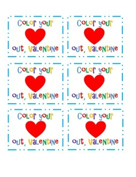 """Color your heart out"" Valentine Cards for crayons"