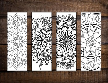 Coloring Bookmarks, 4 Designs