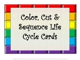 Color,Cut & Sequence Life Cycle Cards-butterfly, frog, ladybug, mealworm, plant