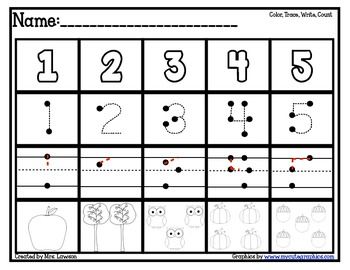 Color/Trace/Write/Count Numbers 1-10