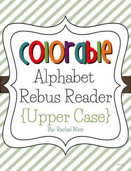 Colorable Alphabet Rebus Reader - Upper Case