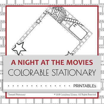Colorable Movie Theme Stationary Worksheet