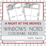 Colorable Window Notes - Movie Theme