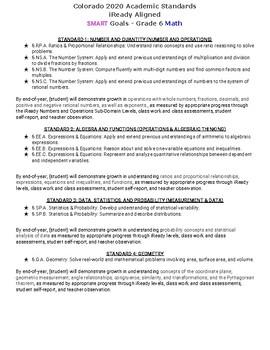 Colorado 2020 Academic Standards  iReady Aligned SMART Goals - Grade 6 Math