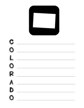 Colorado State Acrostic Poem Template, Project, Activity, Worksheet