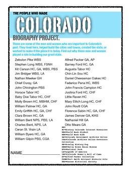 Colorado Biographies