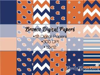 Colorado Broncos Inspired Digital Paper