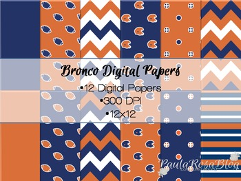 Colorado Broncos Inspired Digital Paper