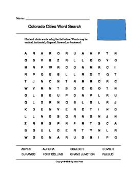 Colorado Cities Word Search (Grades 3-5)