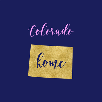 Colorado Clipart, USA State Vector Clipart, Colorado Home, Gold US Clipart