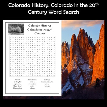 Colorado History Colorado in the 20th Century Word Search