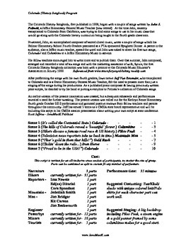 Colorado (History Songbook) Program