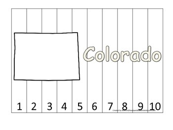 Colorado Number Sequence Puzzle.  Learn the States preschool printable game.
