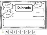 Colorado Read it, Build it, Color it Learn the States preschool worksheet.