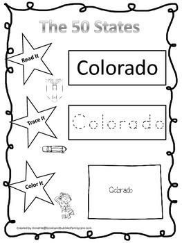 Colorado Read it, Trace it, Color it Learn the States preschool worksheet.