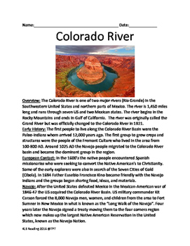 Colorado River - lesson full history facts information questions vocabulary