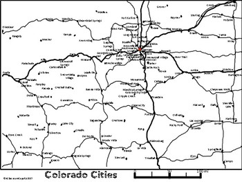 Colorado Road Map/Travel Time Map/City Mileage Chart by A Classroom ...