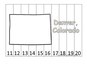Colorado State Capitol Number Sequence Puzzle 11-20.  Geography and Numbers.