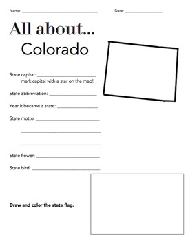 Colorado State Facts Worksheet: Elementary Version