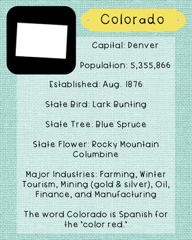 Colorado State Facts and Symbols Class Decor, Government, Geography