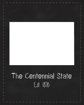 Colorado State Map Class Decor, Government, Geography, Black and White Design