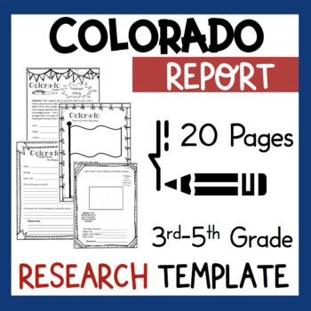 Colorado State Research Report Project Template + bonus timeline Craftivity CO