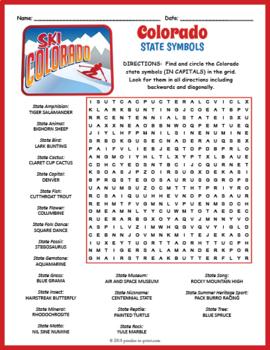 Colorado State Symbols Word Search Puzzle