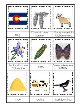 Colorado State Symbols themed 3 Part Matching Game.  Printable Preschool Game