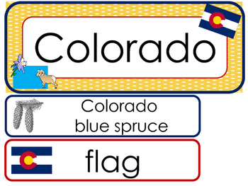 Colorado State Word Wall Bulletin Board Set. Geography Curriculum.