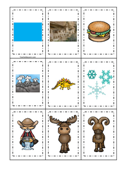 Colorado themed Memory Matching and Word Matching preschool curriculum game.