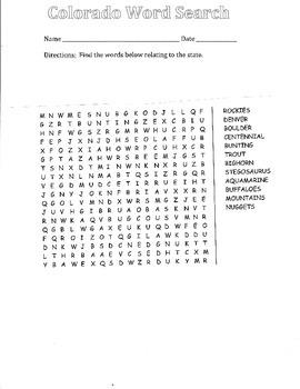 Colorado word search