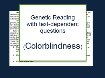 Genetics: Colorblindness reading and questions