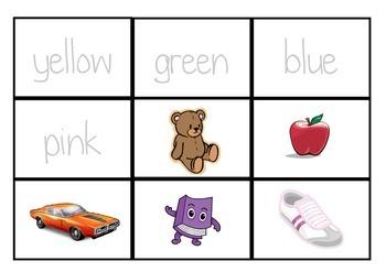 Color/colour flashcards