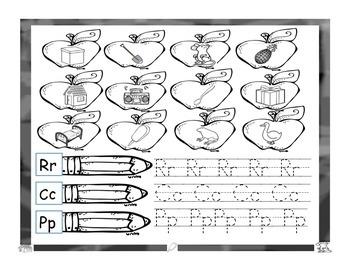 Colorea dibujos con P,C,R y trazea las letras