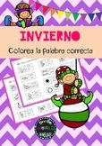 Colorea la palabra Invierno Navidad Winter Christmas Spanish Español