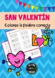 Colorea la palabra San Valentín St Valentine's day Spanish