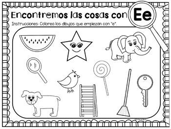 Spanish color by letter sound - Hojas para colorear por sonido inicial