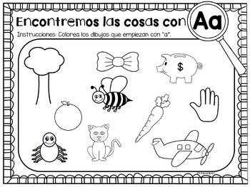 Spanish Color By Letter Sound Hojas Para Colorear Por Sonido Inicial