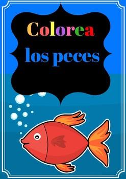 Colorea los peces