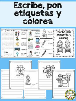 Colorea, pon etiquetas, y escribe – Edición de invierno