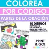 Colorea por código - Partes de la oración - 10 diseños de