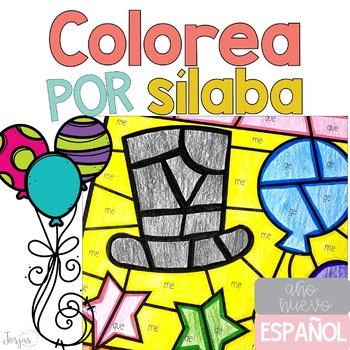 Colorea por sílaba Año nuevo New Years in Spanish