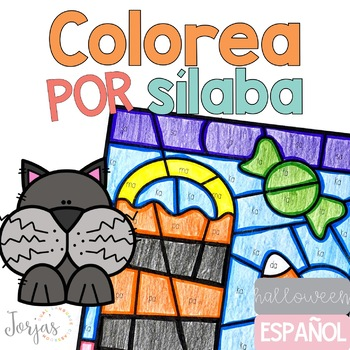 Colorea por sílaba Halloween in Spanish