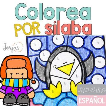 Colorea por sílaba invierno Winter in Spanish