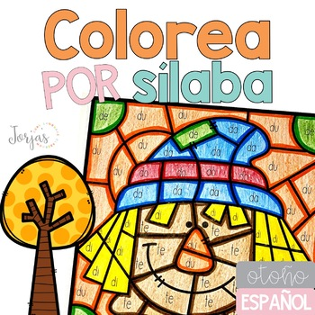 Fall-Themed Color the Syllable Activity in Spanish