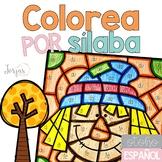 Colorea por sílaba otoño Fall in Spanish