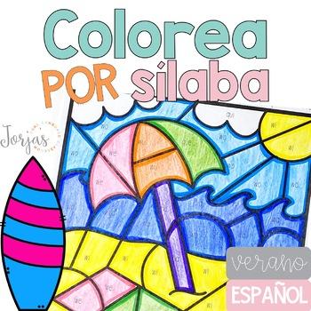 Colorea por sílaba verano Summer in Spanish